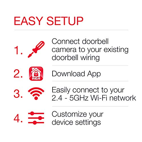 Doorbell Video Ring Security Camera by RCA New and Improved - with Mobile Doorbell Ring, 3MP HD Video, Live Stream, No…