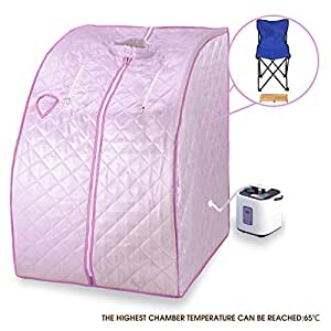 Steam sauna spa full body slimming pink portable 2l home loss weight detox therapy