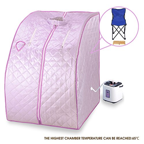 Steam sauna spa full body slimming pink portable 2l home loss weight detox therapy by beautifulwoman
