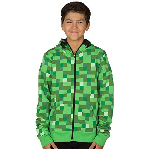 Minecraft Creeper Premium Zip-Up Youth Hoodie - Green - Medium (Minecraft Kids Hoodie)