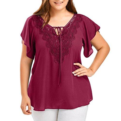 LMMVP Femme Camisole Femmes Blouse,❤️LMMVP ❤️ Aux Femmes Grande Taille Courbe T-shirt en Dentelle Bat Manches Courtes Tops vin rouge