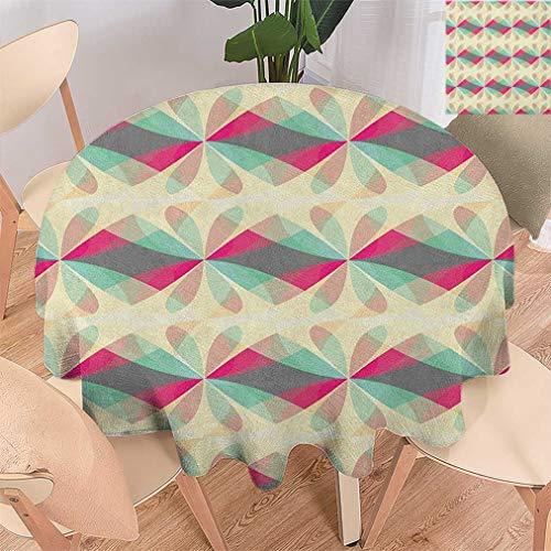 Bohodecor Abstract Round Tablecloths, Fantastic Floral Motifs with Vibrant Color Details Modern Ornament Design Circle Table Cover for Dining Room Kitchen, 47