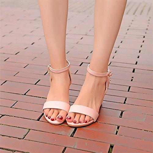 ZHZNVX Damenschuhe Kunstleder Sommer Zweiteilige Sandalen Keilabsatz Open Toe Toe Toe für Party Abend Rosa Grün Rosa Fuchsia US 8 EU 39 UK6 CN 39 49a352