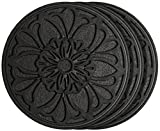 HF by LT Rubber Victorian Garden Stepping Stone, 11-3/4'', Black, Set of 3