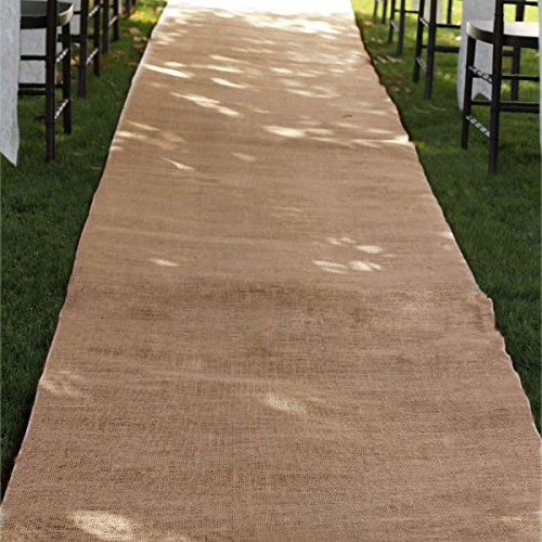 Burlap Aisle Runner Beach Garden Wedding, 36-Inch x 100ft (Natural) from Party Spin