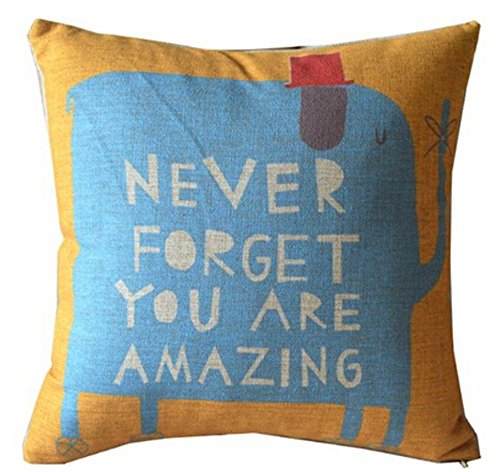 Never Forget I Love You Elephant Cotton Linen Throw Pillow Case Cushion Cover Home Sofa Couch Decorative 18 X 18 Inch (2) (I Love You Cushion)