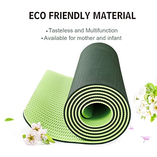 Non Slip Yoga Mat by Farland Eco Friendly TPE Workout Exercise Mat,Anti tear Hot Pilates Pad Mats in Home & Gym 6mm Thick