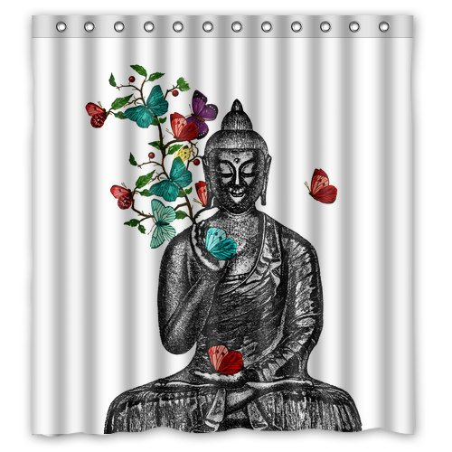 Buddha Butterflies Zen Shower Curtain   Shower Curtain   Vintage Buddha  Illustration Shower Curtain   Buddha