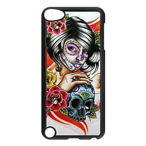 LeonardCustom Hardshell Snap On Cover Case for iPod Touch 5 (5th Generation), Day of the Dead Skull
