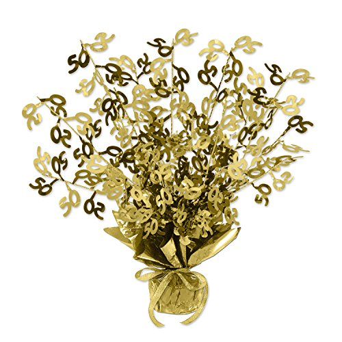 Beistle Gold 50 Gleam 'N Burst Centerpiece, 15-Inch, Gold (Anniversary Centerpiece 50th)
