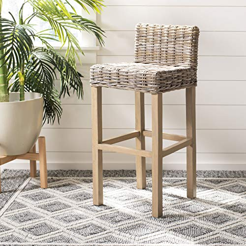 - Safavieh Home Collection Cypress Light Oak Wicker 30-inch Bar Stool