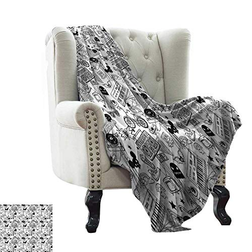 Ultra Soft Flannel Blanket Black and White,Punk Teenage Pattern Cassette Keyboard Ghost Heart and Boombox Doodle,Black White Microfiber All Season Blanket for Bed or Couch Multicolor 60