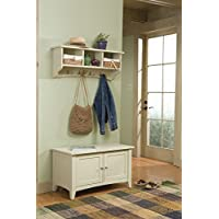 Alaterre ASCA0405SA Shaker Cottage Storage Bench and Coat Hook Set, Sand