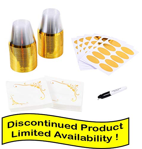 9oz Gold Rimmed Plastic Cups and Napkin Set (Pack of 60 Each) ~ Fancy Disposable Wine Glasses ~ Elegant Party Cups With Gold Rim ~ Includes 60 Cup Labels and 1 Marker (Best Name Brand Rims)