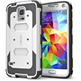 Galaxy S5 Case, i-Blason Armorbox Dual Layer Hybrid Full-body Protective Case with Front Cover and Built-in Screen Protector / Impact Resistant Bumpers (White)
