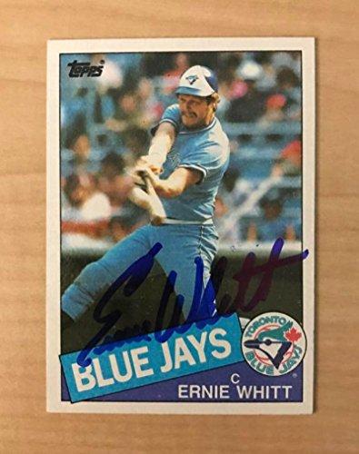 1985 Team Autographed Framed (ERNIE WHITT TORONTO BLUE JAYS SIGNED AUTOGRAPHED 1985 TOPPS CARD #128 W/COA)