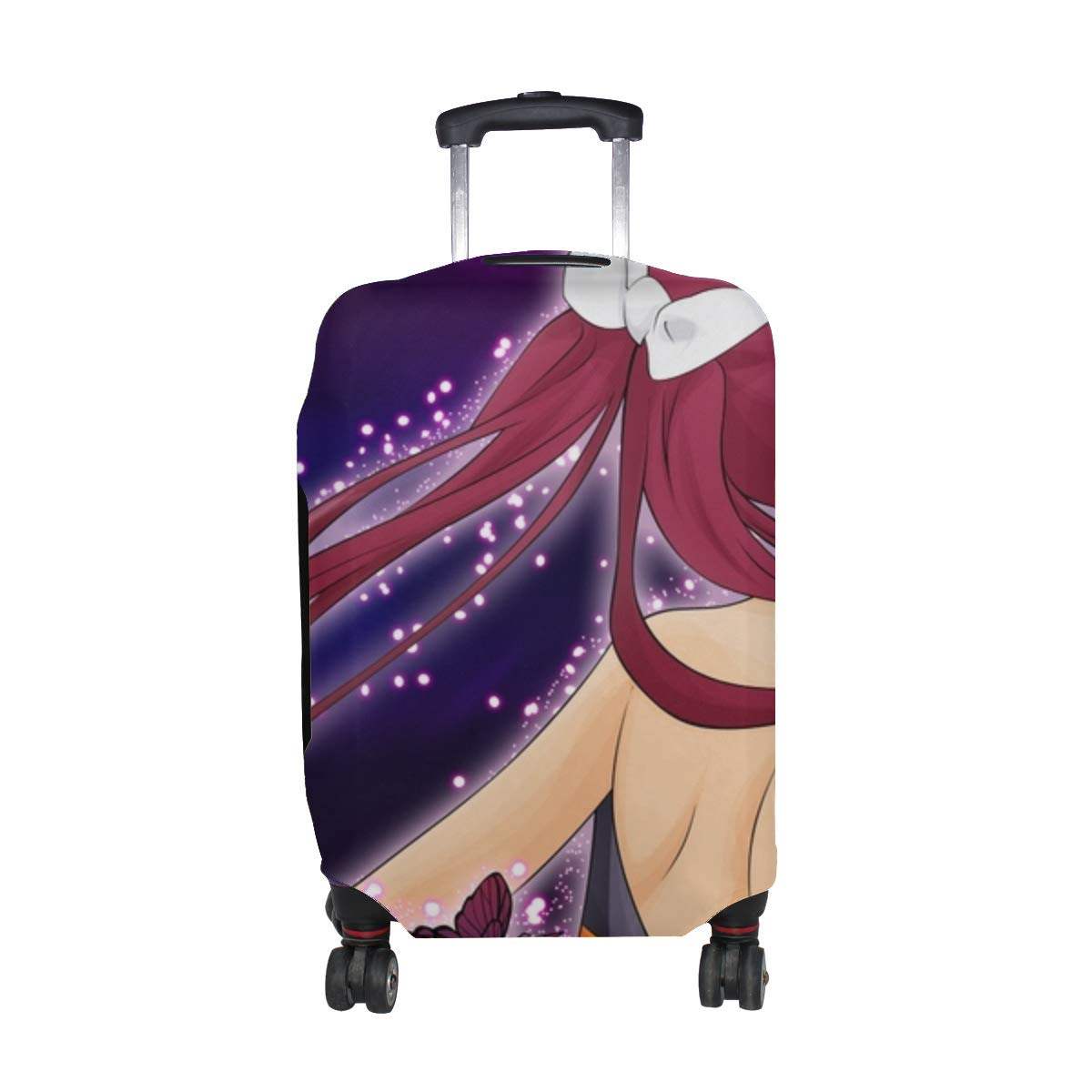 Maxm Umi Monogatari Girl Brunette Radiance Butterfly Pattern Print Travel Luggage Protector Baggage Suitcase Cover Fits 18-21 Inch Luggage