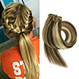 BETTY Clip In Human Hair Extensions 15 18 20 22 Inch 7pcs 70g Set Silky Straight Human Remy Hair Omber Color (22inch, #6/613)