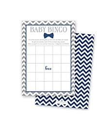 24 Bow Tie Baby Shower Bingo Cards - Littel Man Boy Baby Shower Game (Navy) BOBEBE Online Baby Store From New York to Miami and Los Angeles