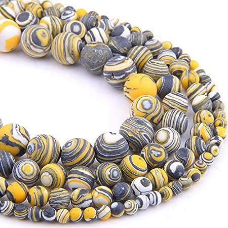 NO LOGO HHTC Perlas, Perlas Naturales, Mate Cuentas de Piedras Amarillas Granos del Espaciador Malaquita Redondos Flojos de Piedra de joyería de la Pulsera del Collar de DIY Que Hace 4 Tamaño 12mm