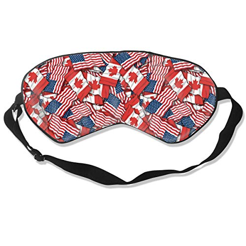 Super Smooth Soft Eye Mask Eye Cover for Boys & Girls, Canadian American Flag Pattern Sleeping Mask for Night Sleeping Trip Yoga, Machine Washable Block out Light ()