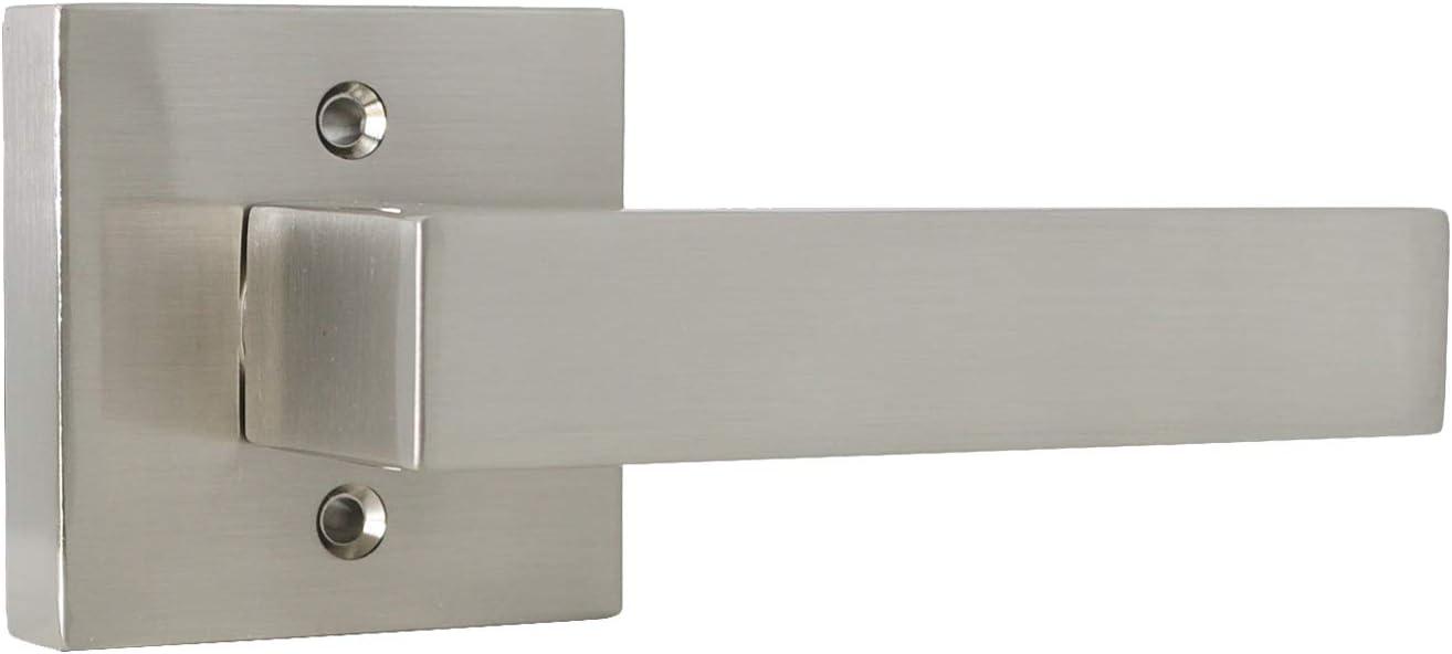 6 Keyed-Alike Entry Door Levers with Same Key,Interior Doors Exterior Doors Use,Satin Nickel Finished,Square Door Locksets Handles