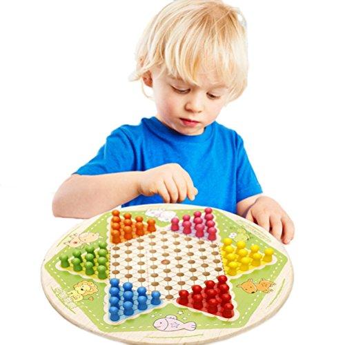 [ドリーマー] 木製 ダイヤモンドゲーム チェッカーズ セブンインワン リバーシブル 積み木 連珠玩具 星形 知育玩具 おもちゃ 赤ちゃん 子供用 キッズ レトロ