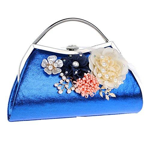 ZLL Women's bag La Bolsa De Asas De Las Flores De Las Mujeres Bolso De Hombro Elegante Bolso De La Cena Blue