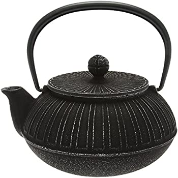 Iwachu Japanese Iron Tetsubin Teapot, Chrysanthemum, Silver and Black