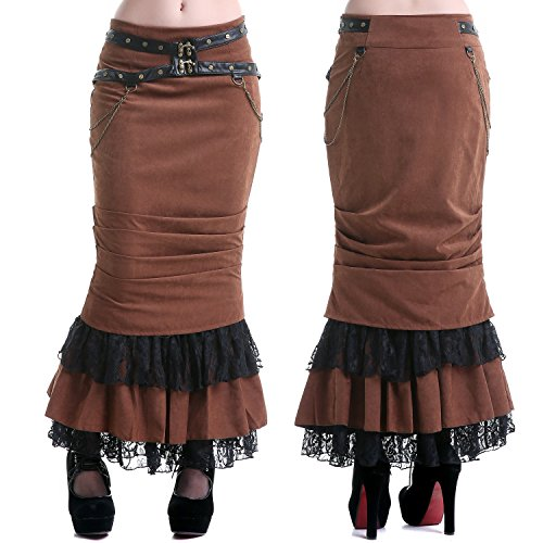 Falda de Tubo Larga Marrón