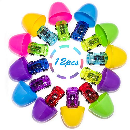 SANGU 12 Packs Die-Cast Car Filled Big Easter Eggs, 3