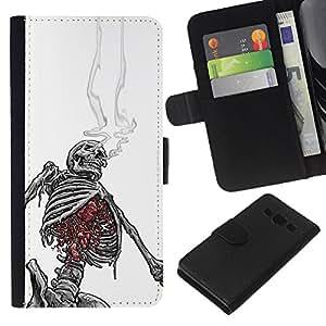 Be-Star la tarjeta de Crédito Slots PU Funda de cuero Monedero caso cubierta de piel Para Samsung Galaxy A3 ( White Black Skeleton Skull Smoke )