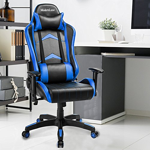 Modern Luxe Racing Style Pu Leather Office Chair Swivel