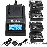 Kastar Fast Charge + Battery 4X for Fujifilm NP-W126 NP-W126s BC-W126 and Fuji HS30EXR HS33EXR HS35EXR HS50EXR X100F X-PRO1 X-PRO2 X-A1 X-A2 X-A3 X-A10 X-E1 X-E2 X-E2S X-E3 X-M1 X-T1 X-T2 X-T10 X-T20