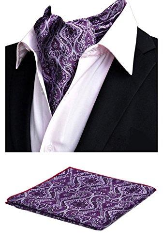 (MOHSLEE Men Elegant Purple Wedding Cravat Necktie Ascot Self Ties Hanky Gift Set)