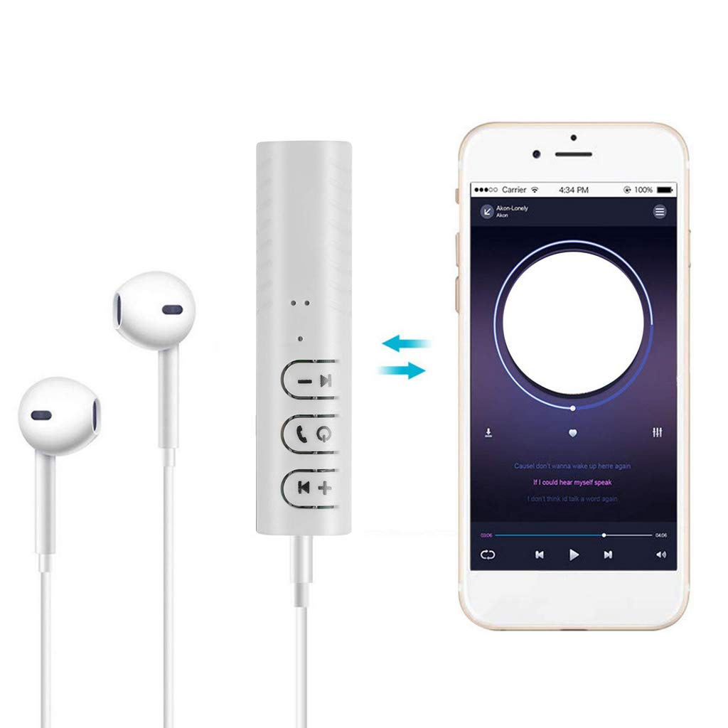 White T.Face Mini Wireless Bluetooth Receiver 3.5mm Car Handsfree Music Audio Adapter Car Aux Earphones Clip Mini Bluetooth Headset