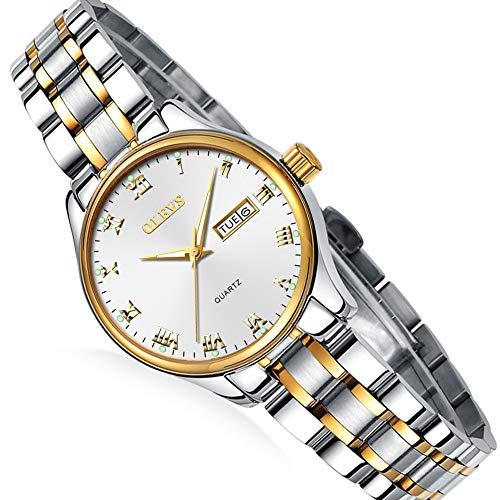 - Waterproof Silver Steel Watch Lady,Women's Day Date Watch,Roman Numeral Ladies Watch,Lady Dress Analog Quartz Watch,Luminous Steel Watch for Women,Ladies Business Small Watches,Women Casual Watch