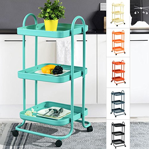 3-Tier Metal Utility Service Rolling Handle Storage Kitchen Office Medicine Trolley Kid Room Cart with wheels in Aqua
