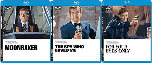James Bond Film Collection 10/11/12 The Spy Who Loved Me - Moonraker & For Your Eyes Only Roger Moore 007 Blu Ray three films Action Movie Set