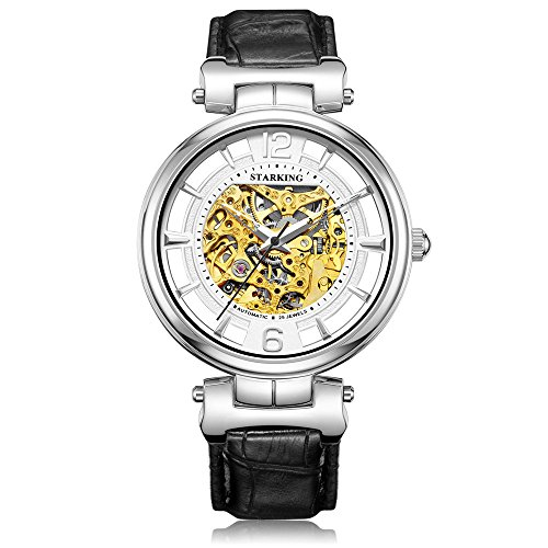 STARKING Men's AM0200SL21 Automatic Skeleton Business Wrist Watch with Black Leather Strap