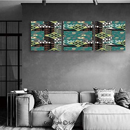 アートフレーム 緑の森 サンシャイン グリーン アートパネル 絵画 インテリア 壁掛けアート 美術室 現代(額縁なし) 40*40cm*3pcs抽象的、ミニマルなストライプと芸術的なパッチワークオリエンタルフォーク花文化パターン装飾、多色