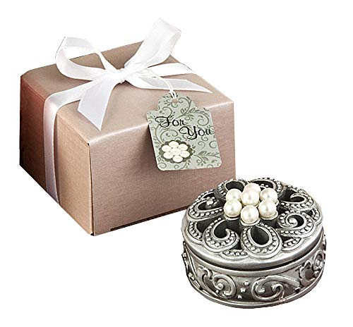 Wedding Bridal Baptism Communion Party Favors, Pearl Flower Curio Boxes, Set of 100