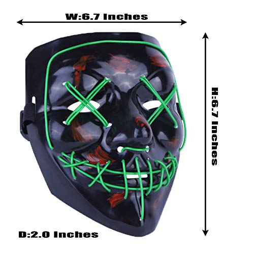 Hockey Related Halloween Costumes (Halloween LED Light Up Mask for Men,Women and Kids- Scary Led Purge Mask for Festival Cosplay Halloween Costume)