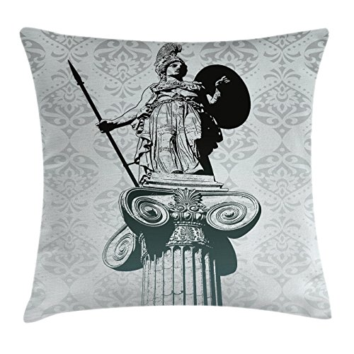 Sculptures Throw Pillow Cushion Cover by Ambesonne, Statue of Athena on Baroque Background Ancient Greek Mythology, Decorative Square Accent Pillow Case, 28 X 28 Inches, Black Dust Pale Turquoise (Athena Pub Set)