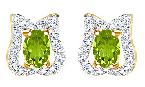 (Round Cut Simulated Peridot Tulip Lotus Flower Stud Earrings In 14K Yellow Gold Over Sterling Silver)