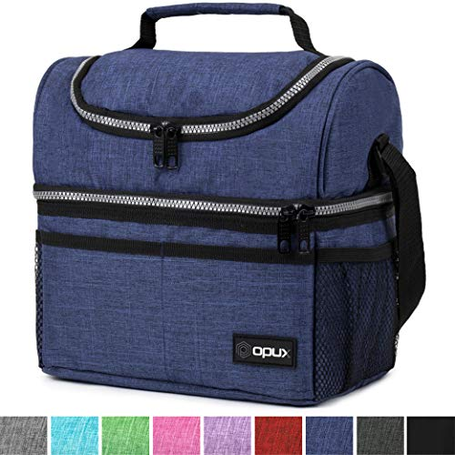 Insulated Dual Compartment Lunch Bag for Men, Women | Double Deck Reusable Lunch Box Cooler with Shoulder Strap, Leakproof Liner | Medium Lunch Pail for School, Work, Office (Heather Navy)