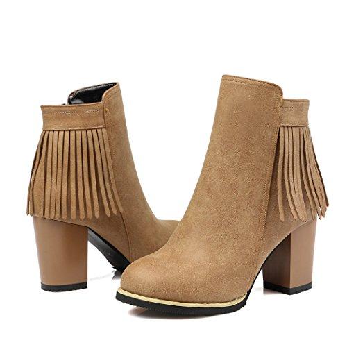 frangia a QXL di gli Europa tacchi avvio spessa stivali punta il ZQ Apricot scarpe della Uniti e Stati codice 6FRqqx