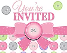 cute as a button girl baby shower invitations 8 ct