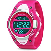 Kids Reloj digital–Las niñas reloj impermeable deportivo, muñeca relojes con alarma cronómetro para la juventud Childrens