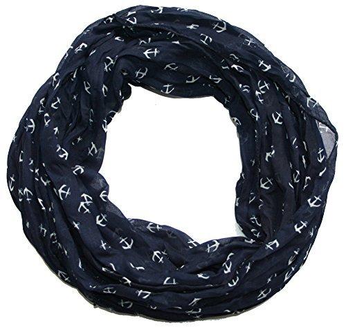 Anker-Marine-Damen-Loop-Schal-Seide-Baumwolle-marine-blau